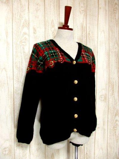 画像1: ☆ ヨーロッパ古着 チェック編み×クリスマスカラー♪ 大人レトロフォークロアstyleにもおすすめ♪ ニットカーディガン ☆