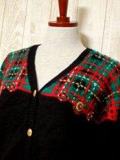 画像8: ☆ ヨーロッパ古着 チェック編み×クリスマスカラー♪ 大人レトロフォークロアstyleにもおすすめ♪ ニットカーディガン ☆ (8)