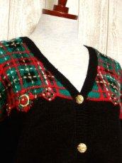 画像3: ☆ ヨーロッパ古着 チェック編み×クリスマスカラー♪ 大人レトロフォークロアstyleにもおすすめ♪ ニットカーディガン ☆ (3)