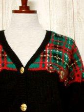 画像9: ☆ ヨーロッパ古着 チェック編み×クリスマスカラー♪ 大人レトロフォークロアstyleにもおすすめ♪ ニットカーディガン ☆ (9)