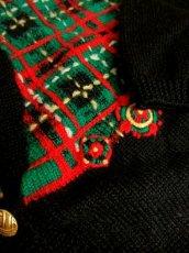 画像10: ☆ ヨーロッパ古着 チェック編み×クリスマスカラー♪ 大人レトロフォークロアstyleにもおすすめ♪ ニットカーディガン ☆ (10)