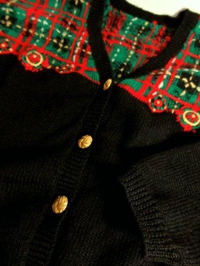 画像3: ☆ ヨーロッパ古着 チェック編み×クリスマスカラー♪ 大人レトロフォークロアstyleにもおすすめ♪ ニットカーディガン ☆