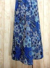 画像11: 花模様織り 衣装にもおすすめ 花柄 ブルー 華やか レトロ 半袖 ヨーロッパ古着 ヴィンテージドレス【5606】 (11)