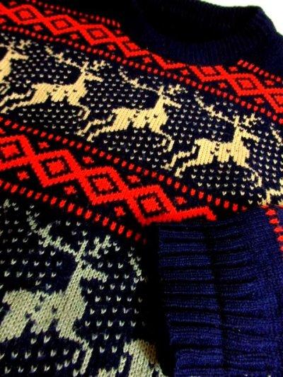 画像3: トナカイ ノルディック模様 ネイビー ガーリー レトロ ヨーロッパ古着 ヴィンテージニットセーター【5681】