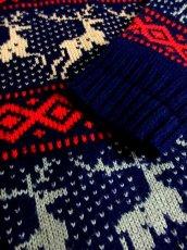 画像10: トナカイ ノルディック模様 ネイビー ガーリー レトロ ヨーロッパ古着 ヴィンテージニットセーター【5681】 (10)
