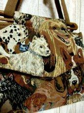 画像12: ゴブラン 犬模様 ポケットいっぱい レディースヨーロッパ古着 レトロ ヴィンテージ ショルダー 鞄 バッグ【5682】 (12)