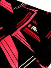 画像14: 70年代 サイケ アート柄 ブラック ピンク ホワイト 長袖 昭和レトロ 国産古着 レトロワンピース 【5707】 (14)