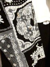 画像14: フォークロア模様 ドット柄 ブラック ホワイト 長袖 レトロ USA古着 ヴィンテージオールインワン 【5723】 (14)