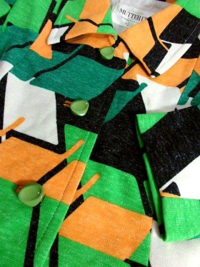 画像3: 70年代 グリーン ブラック ホワイト オレンジ 長袖 ポップ 昭和レトロ 国産古着 レトロセットアップ 【5737】