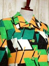 画像3: 70年代 グリーン ブラック ホワイト オレンジ 長袖 ポップ 昭和レトロ 国産古着 レトロセットアップ 【5737】 (3)
