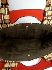 画像5: 2way スクエア柄 大きめサイズ 持ち手が可愛い  レディース レトロ ショルダー ハンド 鞄 バッグ【5742】 (5)