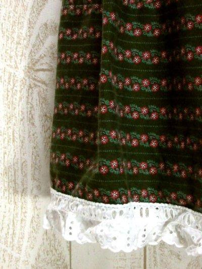 画像2: 小花柄 ストライプ ボーダー グリーン レース ガーリー ディアンドル チロルスカート ドイツ民族衣装 舞台 演劇 演奏会 フォークダンス オクトーバーフェスト 【Y5752】