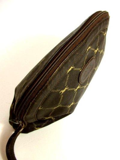 画像3: 馬柄 チェーン柄 イタリア製 ブラウン レザー レディース レトロ クラッチ 鞄 バッグ【2696】