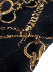 画像4: レトロアンティーク ヴィンテージスカーフ チェーン ブラック【5827】 (4)