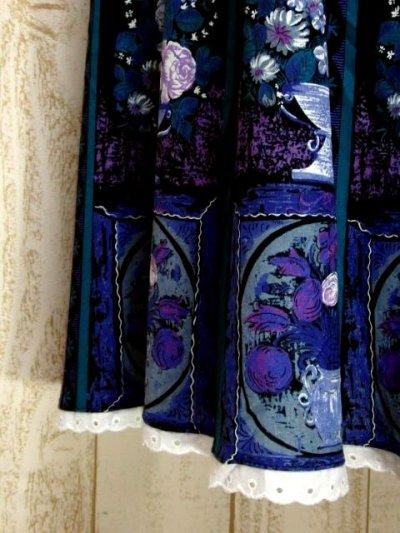 画像2: Flower×House×ストライプ模様プリント 綺麗なカラーバランス レース装飾 チロルスカート ドイツ民族衣装 舞台 演劇 演奏会 フォークダンス オクトーバーフェスト 【5873】