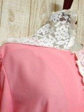 画像8: セーラー襟 レース フリル ピンク 長袖 レトロ ガーリー キュート USA古着 ヴィンテージドレス 【5880】 (8)