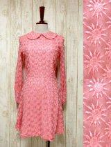☆ ヨーロッパ古着 贅沢な総レース×ぷっくり刺繍が素晴らしい!!お呼ばれスタイルにも♪総レースヨーロピアンヴィンテージドレス Pink ☆