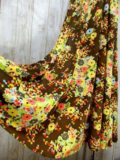 画像2: USA古着 70'sレトロポップサイケVintage!!!Flower×Squareパターン♪襟・袖先フラワーレース装飾★華やか大人ヴィンテージドレス  衣装にもおすすめ