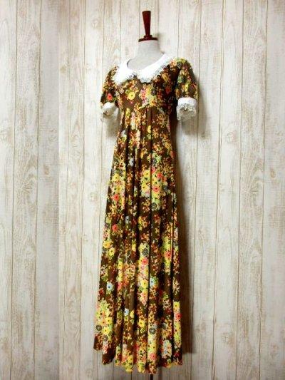 画像1: USA古着 70'sレトロポップサイケVintage!!!Flower×Squareパターン♪襟・袖先フラワーレース装飾★華やか大人ヴィンテージドレス  衣装にもおすすめ