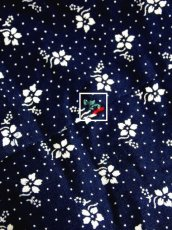 画像12: ドット柄 小花柄 ネイビー レッド トグル調ボタン ウエストリボン エプロン風 ノースリーブ レトロ ヨーロッパ古着 ヴィンテージワンピース【5916】 (12)