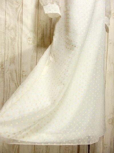 画像2: パーティースタイルにもおすすめ ホワイト ドット柄 レース 上品 レトロ ガーリー 長袖 ヨーロッパ古着 ヴィンテージドレス 【5946】
