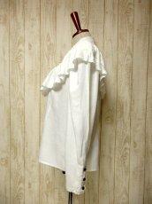画像7: 贅沢なフリルレース使い お花刺繍 クリアなスパンコール装飾 ヨーロッパ古着 ヴィンテージホワイトブラウス【5967】 (7)