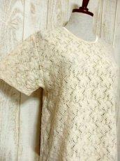 画像4: USA古着 透かし編みデザインが可愛い 明るめの生成りカラー シャツ ブラウス 大人ガーリー ヴィンテージトップス【5984】 (4)