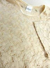 画像10: USA古着 透かし編みデザインが可愛い 明るめの生成りカラー シャツ ブラウス 大人ガーリー ヴィンテージトップス【5984】 (10)