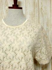 画像9: USA古着 透かし編みデザインが可愛い 明るめの生成りカラー シャツ ブラウス 大人ガーリー ヴィンテージトップス【5984】 (9)