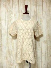 画像2: USA古着 透かし編みデザインが可愛い 明るめの生成りカラー シャツ ブラウス 大人ガーリー ヴィンテージトップス【5984】 (2)