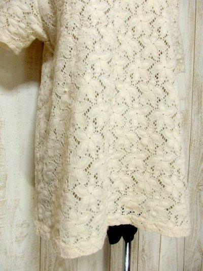 画像2: USA古着 透かし編みデザインが可愛い 明るめの生成りカラー シャツ ブラウス 大人ガーリー ヴィンテージトップス【5984】