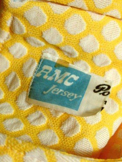 画像3: ヨーロッパ古着 60'sレトロポップVintage!!Yellow×White Color★ぷっくり凹凸ある模様がアクセント!!ヨーロピアンヴィンテージワンピース