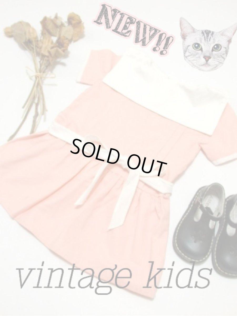 画像1: ☆ ヨーロッパ古着 フランス買い付け vintageキッズ セーラー襟が可愛いvintageワンピースsize100cm kids&baby ☆ (1)