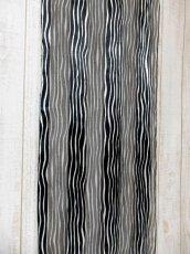 画像5: レトロアンティーク ヴィンテージスカーフ ホワイト ブラック ストライプ【6036】 (5)