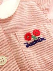 画像7: ☆ フランス子供古着 vintageキッズ ストライプ柄×胸元ワッペン装飾 ヴィンテージワンピース size90cm kids&baby ☆ (7)