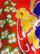 画像16: 花柄 レッド カラフル ポップ フロントジッパー ノースリーブ レトロ ヨーロッパ古着 ヴィンテージワンピース【6067】 (16)
