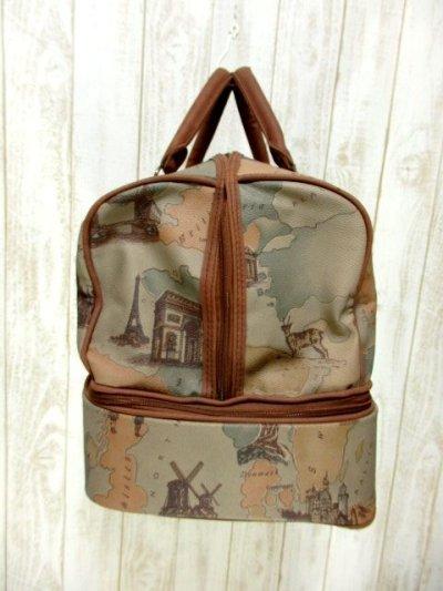 画像2: マップ柄 2段デザイン 普段使いから小旅行まで 本革レザー レディース レトロ ボストン 鞄 バッグ【6161】