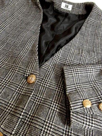 画像3: ヴィンテージコート グレンチェック柄♪オーバーサイズな着こなしがお洒落 レトロなボタンもPOINT