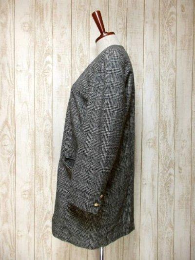 画像1: ヴィンテージコート グレンチェック柄♪オーバーサイズな着こなしがお洒落 レトロなボタンもPOINT