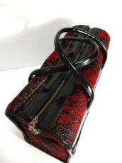 画像6: クラシカル模様織り ブラック レッド 鍵付 大きめサイズ 重厚感 レディース レトロ ハンド 鞄 バッグ【6186】 (6)