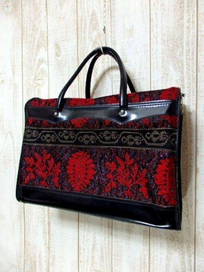 画像1: クラシカル模様織り ブラック レッド 鍵付 大きめサイズ 重厚感 レディース レトロ ハンド 鞄 バッグ【6186】