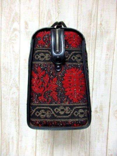 画像2: クラシカル模様織り ブラック レッド 鍵付 大きめサイズ 重厚感 レディース レトロ ハンド 鞄 バッグ【6186】