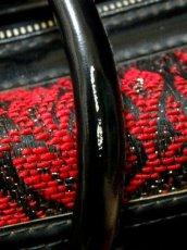 画像13: クラシカル模様織り ブラック レッド 鍵付 大きめサイズ 重厚感 レディース レトロ ハンド 鞄 バッグ【6186】 (13)