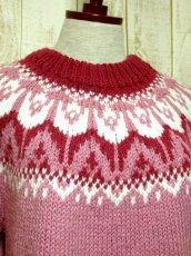 画像3: ☆ ヨーロッパ古着 暖か可愛い★LovelyなPink Color×チューリップ柄♪ざっくり着こなせるレトロガーリーなニットセーター ☆ (3)