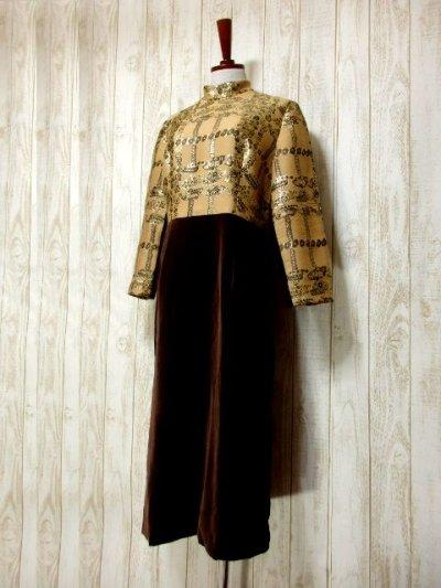 画像1: ベロア ラメ フラワー織り 長袖 レトロ クラシカル ヨーロッパ古着 ヴィンテージドレス 【6193】