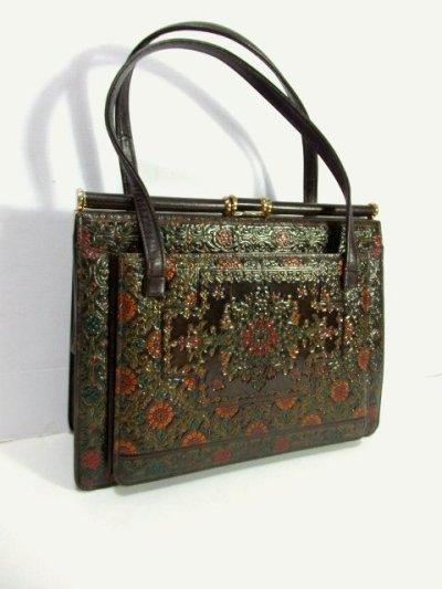 画像1: 花型押し 彫り カービング レザー レディース レトロ ヴィンテージ ハンド 鞄 バッグ【6190】
