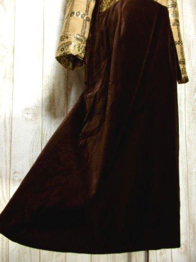 画像2: ベロア ラメ フラワー織り 長袖 レトロ クラシカル ヨーロッパ古着 ヴィンテージドレス 【6193】
