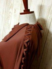 画像7: ドルマンライン ブラウン ウエストゴム レトロ 長袖 ヨーロッパ古着 ヴィンテージドレス 【6201】 (7)