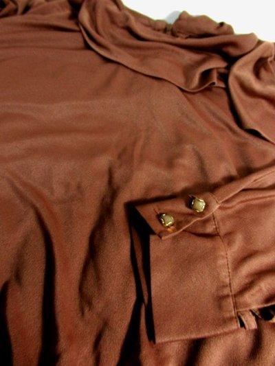 画像3: ドルマンライン ブラウン ウエストゴム レトロ 長袖 ヨーロッパ古着 ヴィンテージドレス 【6201】