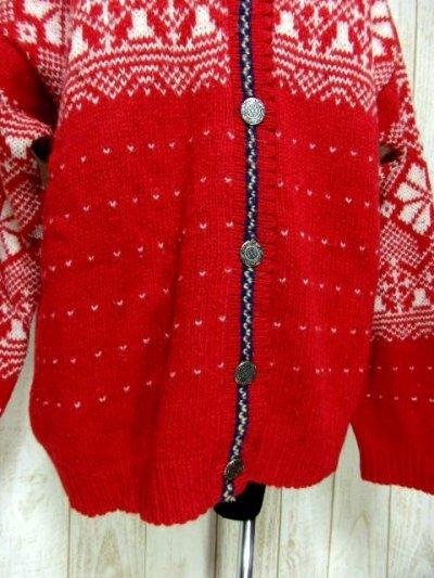 画像2: ☆ ヨーロッパ古着 Red×White★雪の結晶模様編み♪ 大人レトロフォークロアstyleにもおすすめ♪ ほっこり暖かニットカーディガン ☆